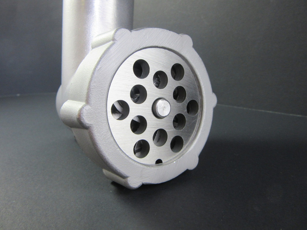 Our new Hightower Kitchen meat grinder and food chopper uses the industry standard size # 5 replacement parts.  Additional grinder discs, blades and sausage stuffing tubes always available at SmokehouseChef.com.