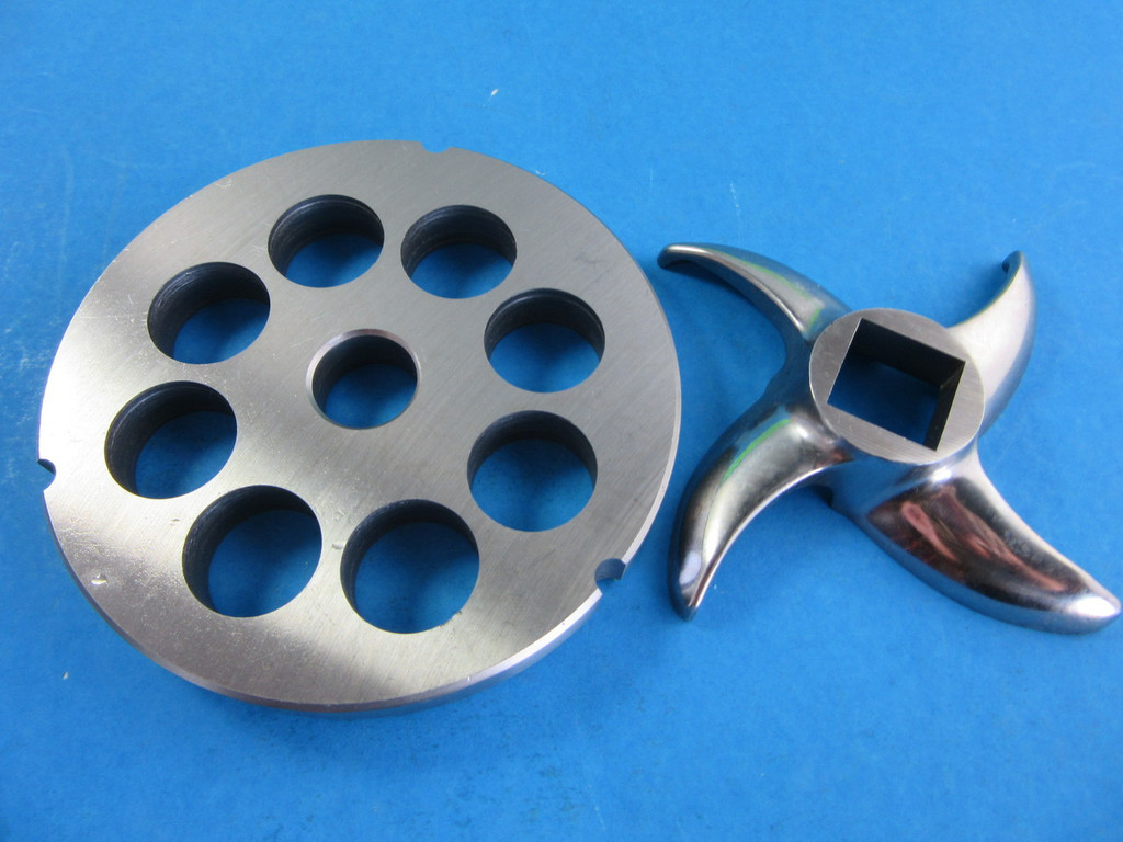 """#42 x XL 1"""" coarse grind plate plus new sharp meat grinder stainless steel blade"""