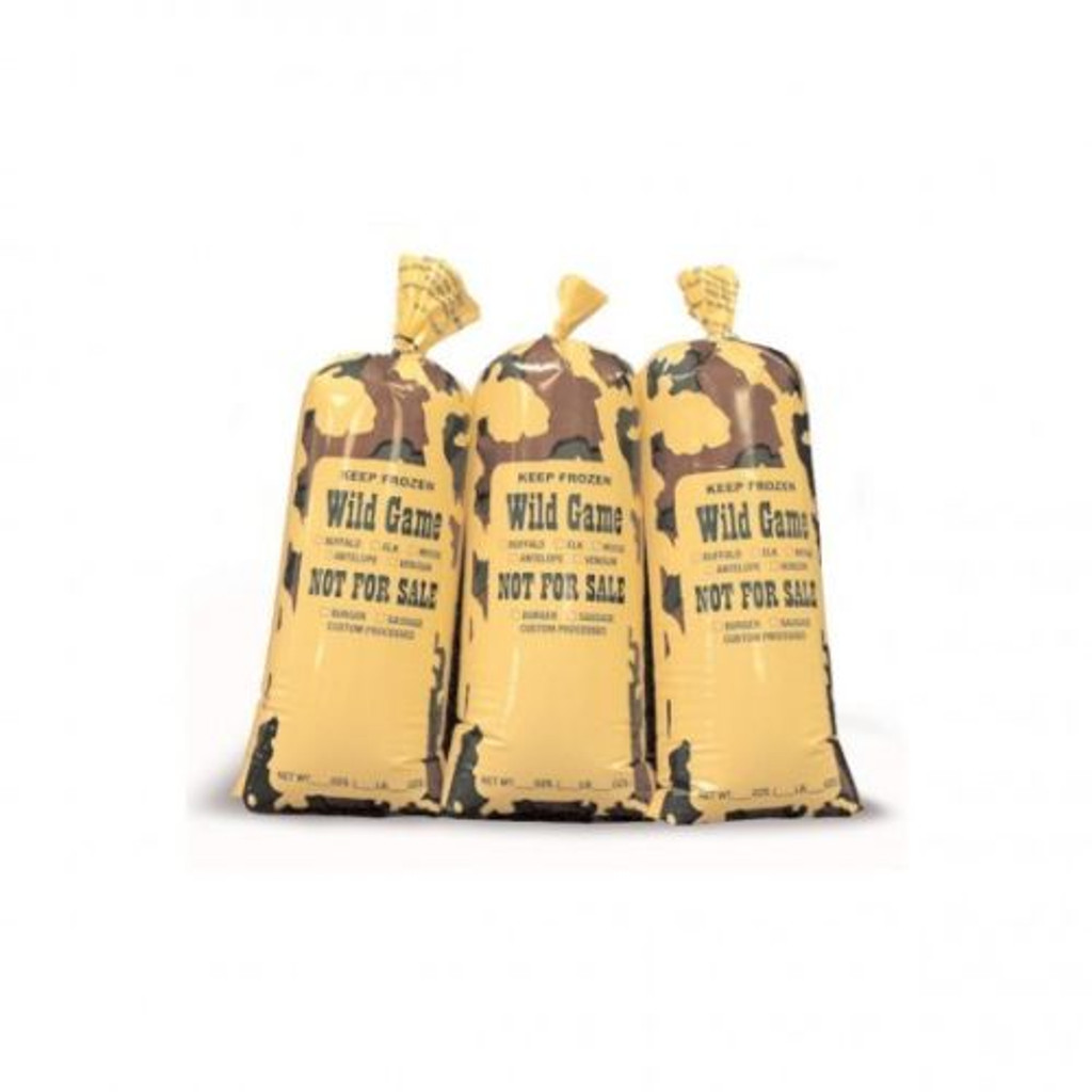 CAMO Freezer Bags.  CASE of 1000 ct.  1-Lb capacity for all wild game meat.  Burger Sausage