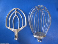 2 PC SET 12 Quart Bakery Mixer Wire Whip Whisk& Flat Beater for Hobart A120