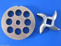 "#22 x 3/4"" hole STAINLESS Meat Grinding Grinder Plate disc & Cutter Knife"