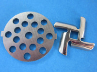 "5/16"" Meat Grinder plate disc & knife for Waring Pro, Back to Basics & Oster"