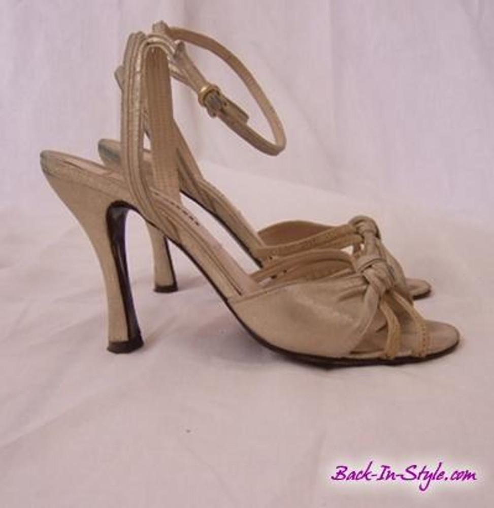 Marc Jacobs metallic beige ankle strap sandals