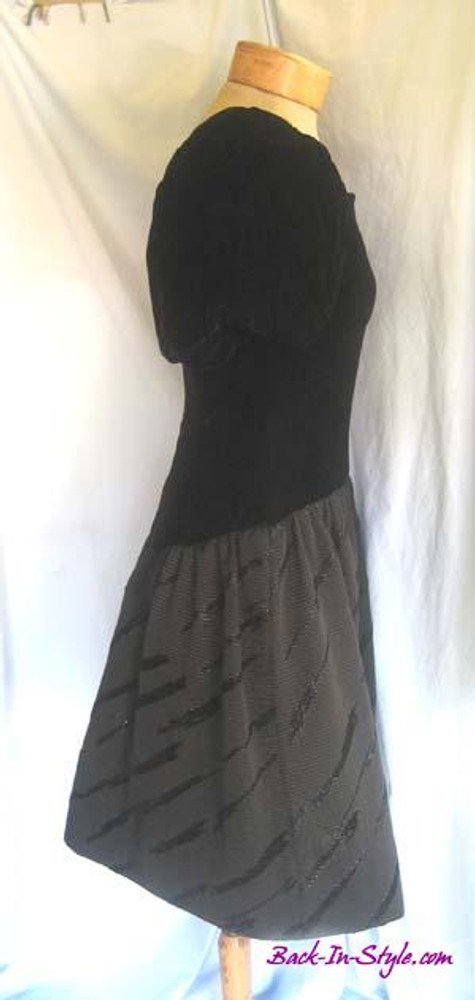 Scaasi Black Velvet Drop Waist Dress with Brocade Skirt & Bloussant Sleeves