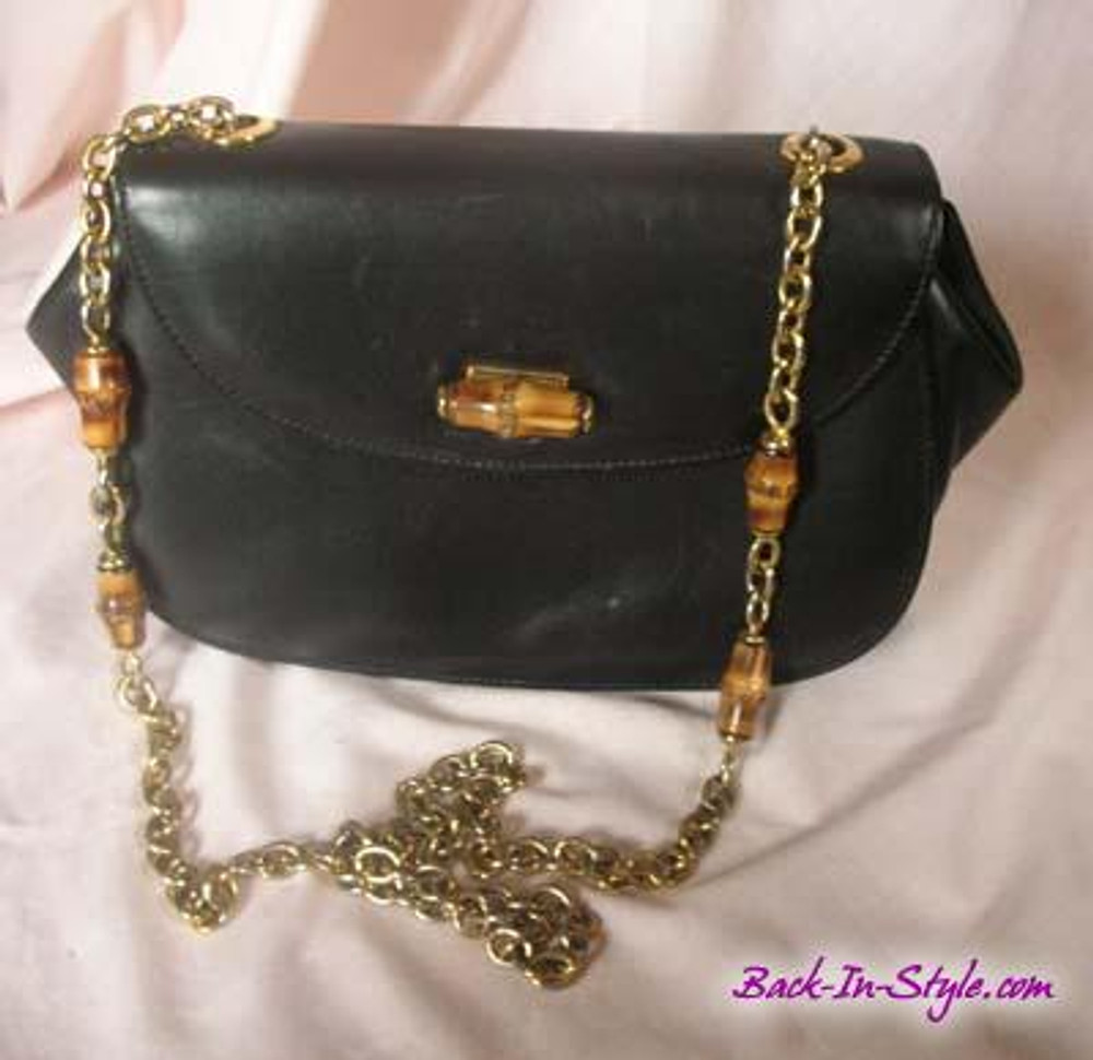 Gucci vintage black bamboo purse