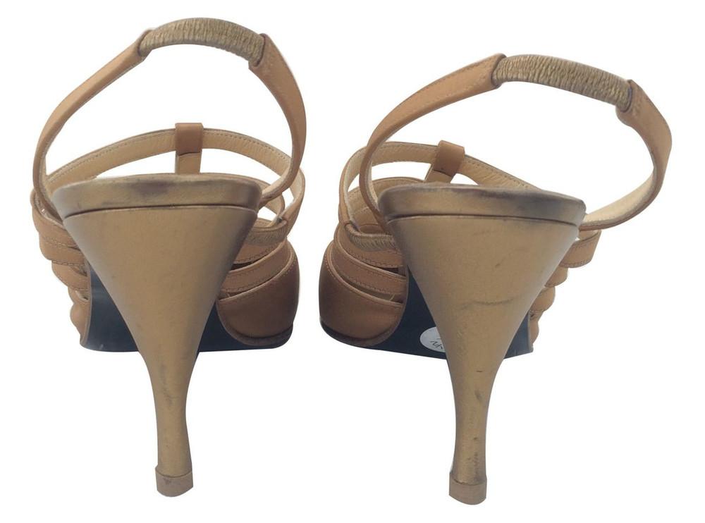 Charles Jourdan Bronze Strapy Slingback Heels