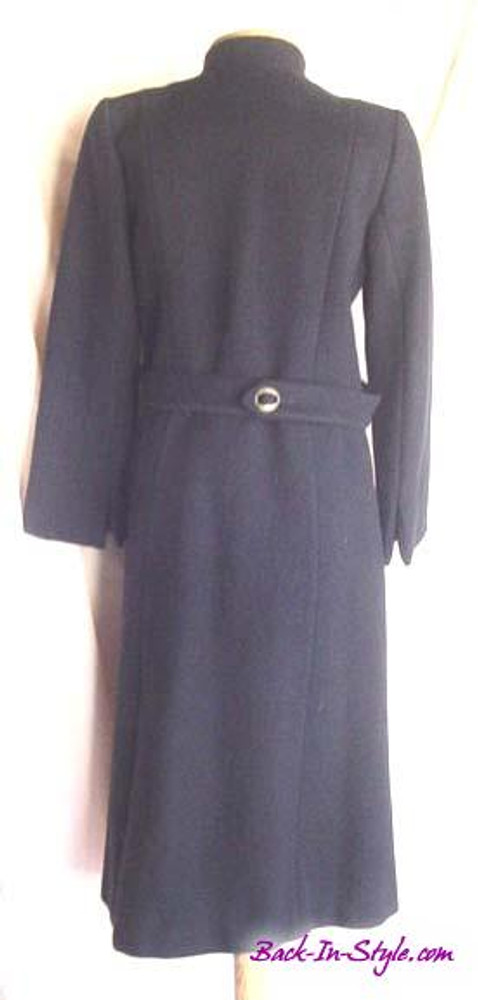 Pauline Trigere Navy Blue Wool Military Coat