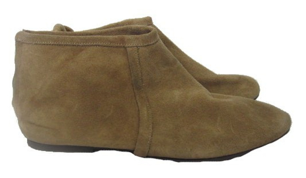 Les Prairies de Paris Tan Flat Suede Booties