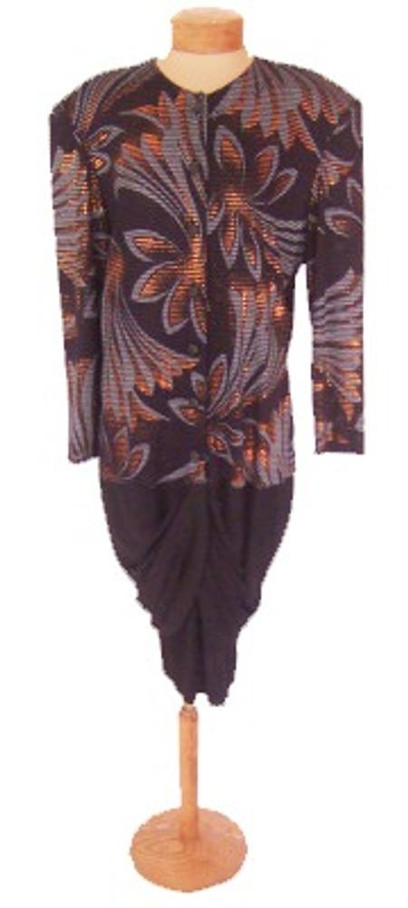 Vintage 1980s Frances La Vie Black Bronze and Gray Dress
