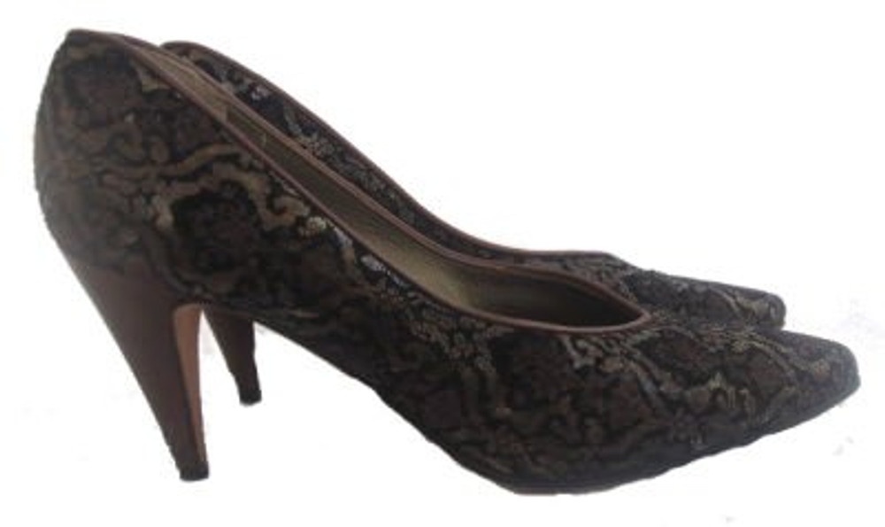 Via Spiga Black & Gold Lace Pumps