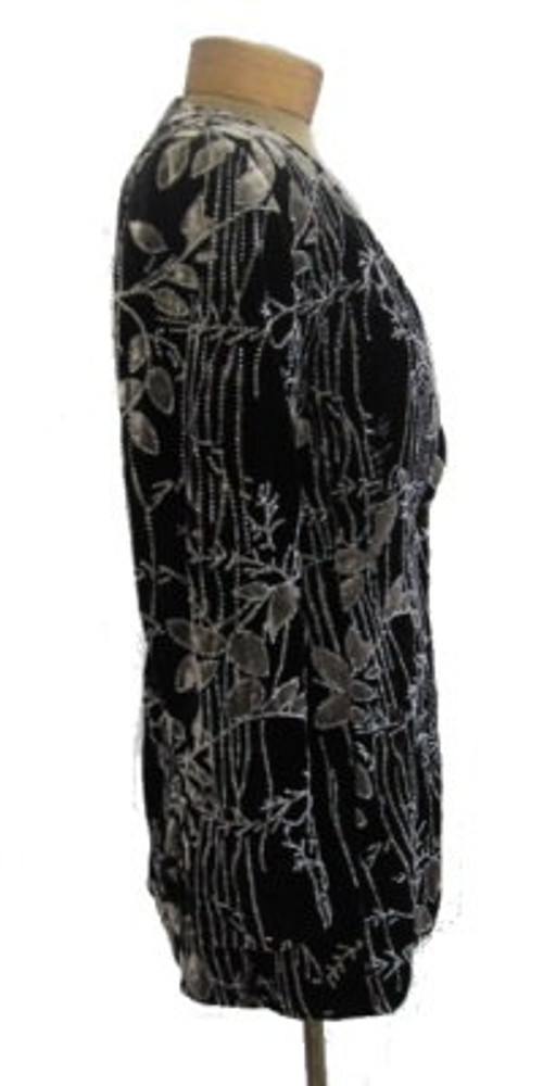 Badgley Mischka Black & Gray Velvet Jacket with Embellishments