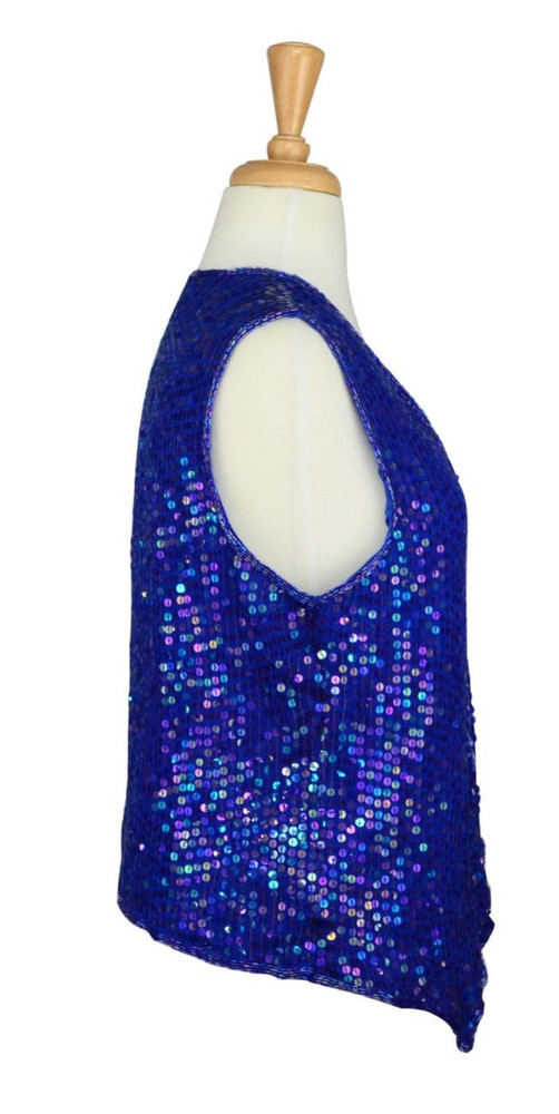 Vintage Blue Sequins Vest