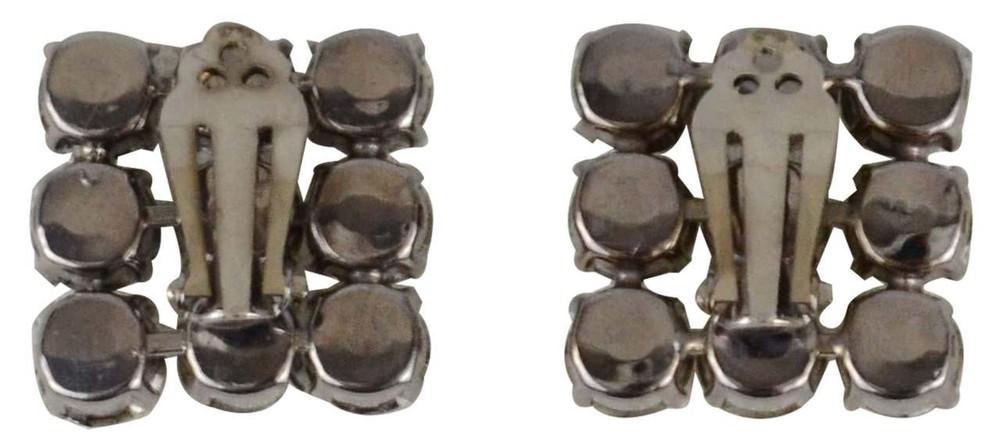 Vintage 1980s Tic Tac Toe Rhinestone Earrings
