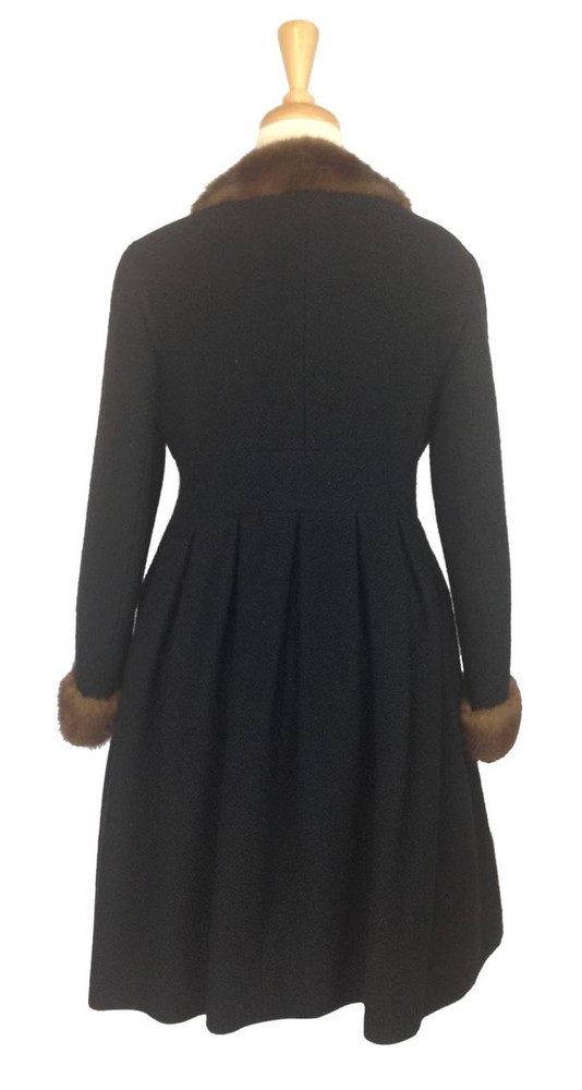 Vintage 1960s Black Wool Coat with Mink Fur Collar & Cuffs