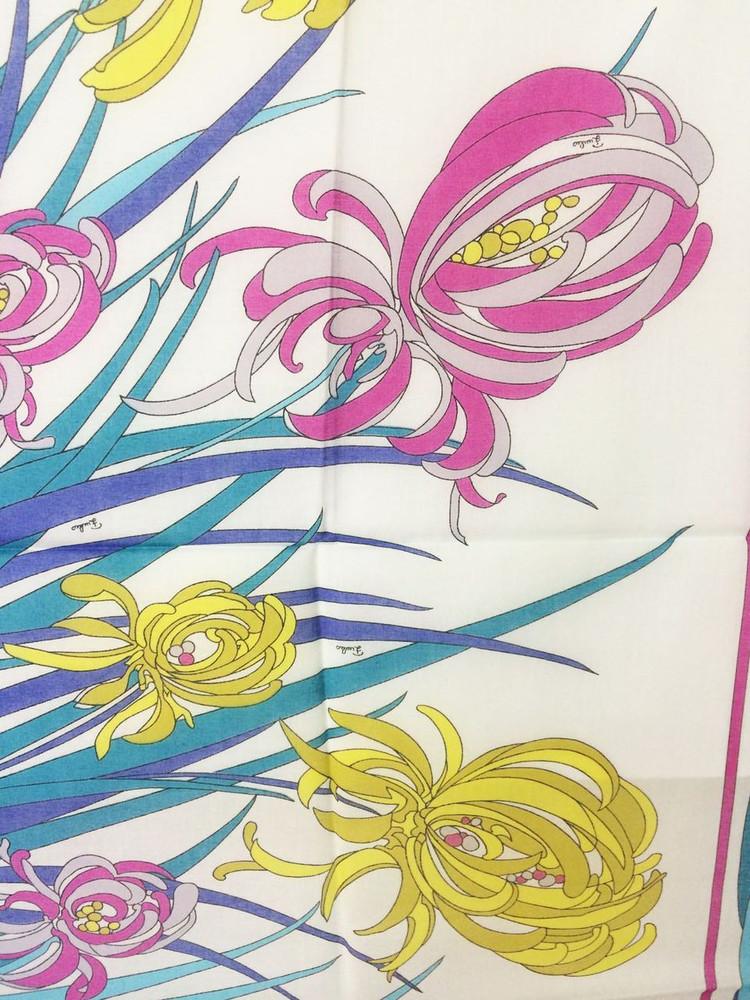Vintage Emilio Pucci Pink, Yellow & Blue Cotton Iris Scarf