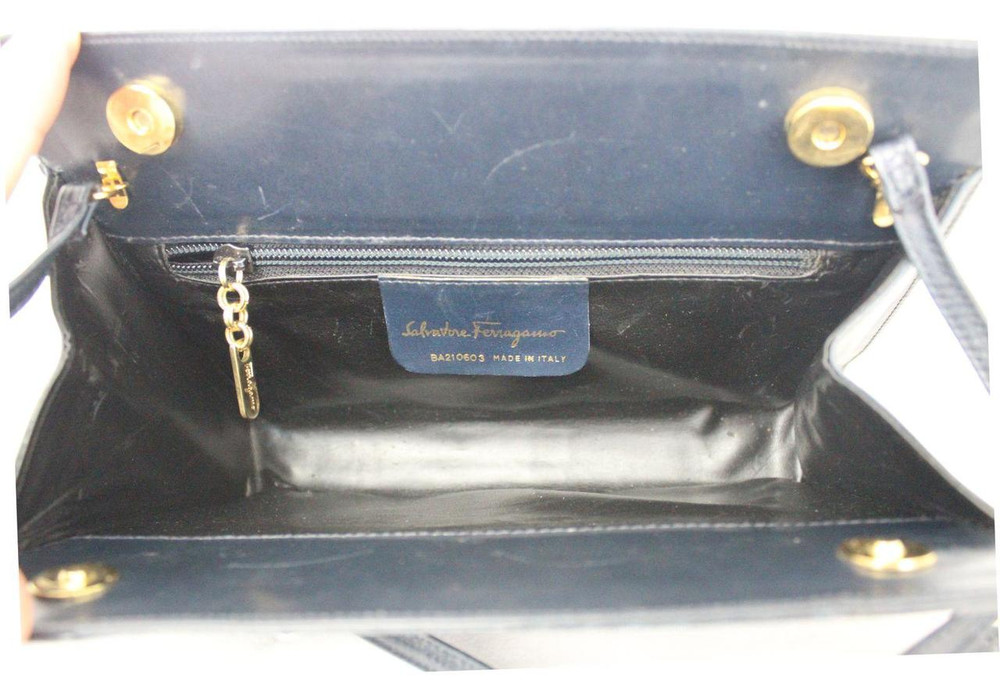 Vintage Ferragamo 1980s Navy Blue Clutch with Snake Skin Detail