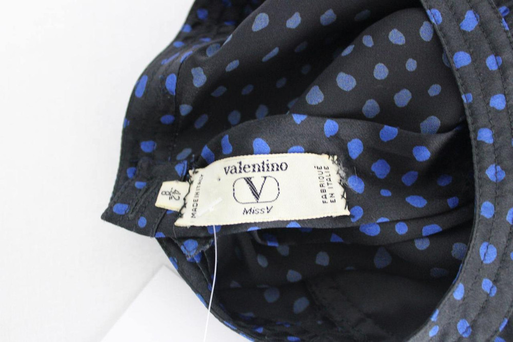 Vintage Valentino 1980s Black and Blue Dot Skirt Suit