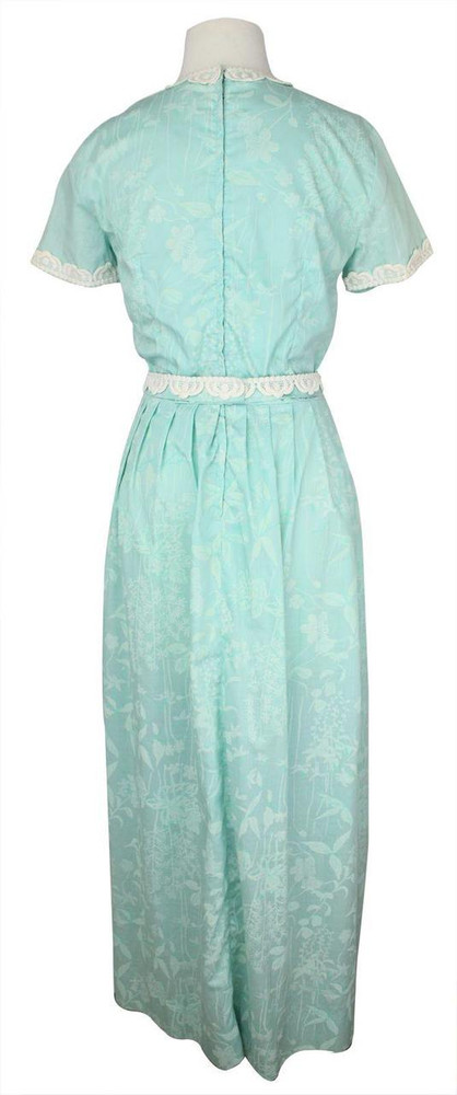 Vintage Lilly Pulitzer Aqua and White Maxi Dress with Lace Applique Trim  1