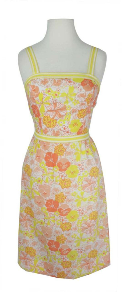 Vintage Lilly Pulitzer 1960s Yellow & Orange Floral Sundress