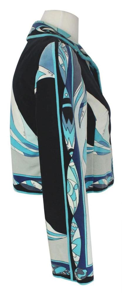 Emilio Pucci Blue & Black Geometric Velvet Cropped Jacket 1