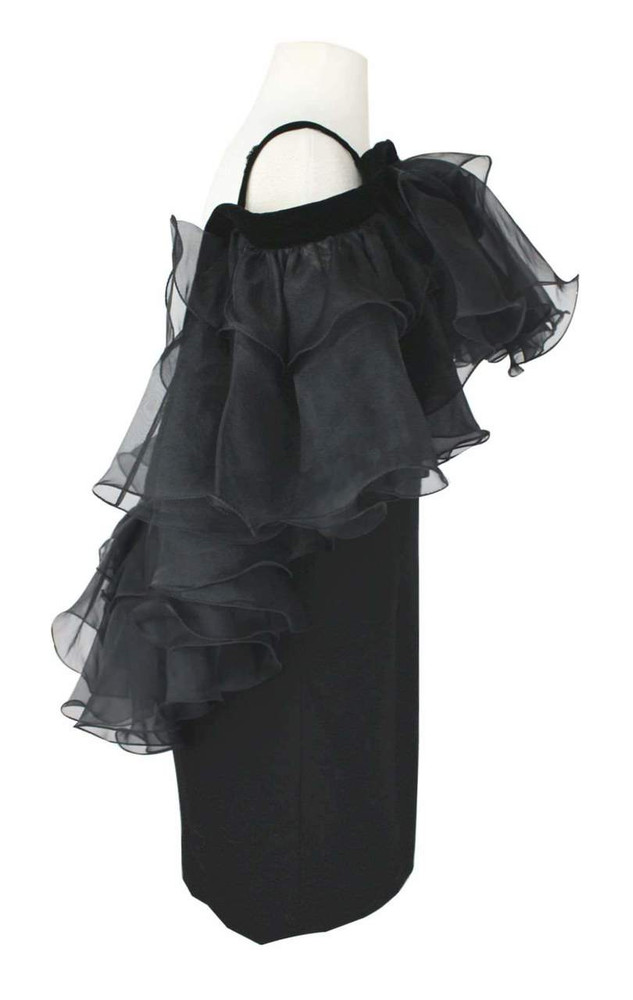 Vintage Bob Mackie 1980s Black Evening Ruffled Shoulders Dress