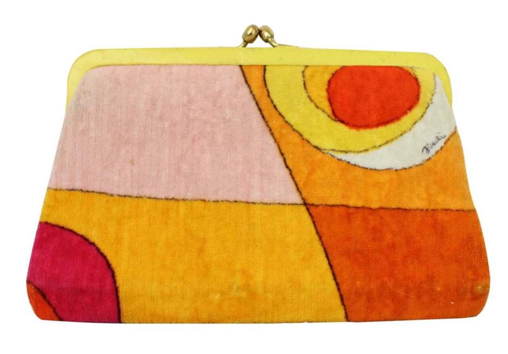 Vintage Emilio Pucci Yellow & Orange Velvet Clutch