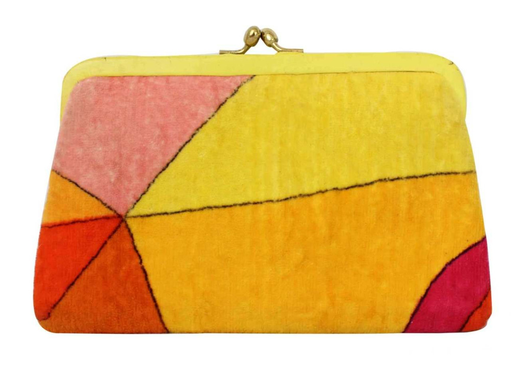 Vintage Emilio Pucci Yellow & Orange Velvet Clutch