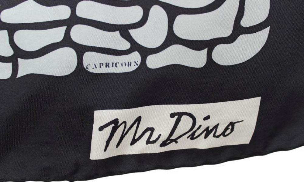 Vintage Mr. Dino 1960s Silk Zodiac Print Scarf