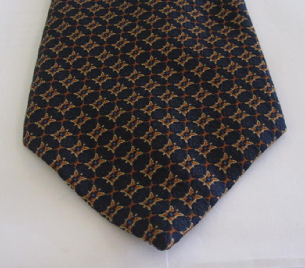 Christian Dior navy blue & orange brocade vintage wide polyester tie