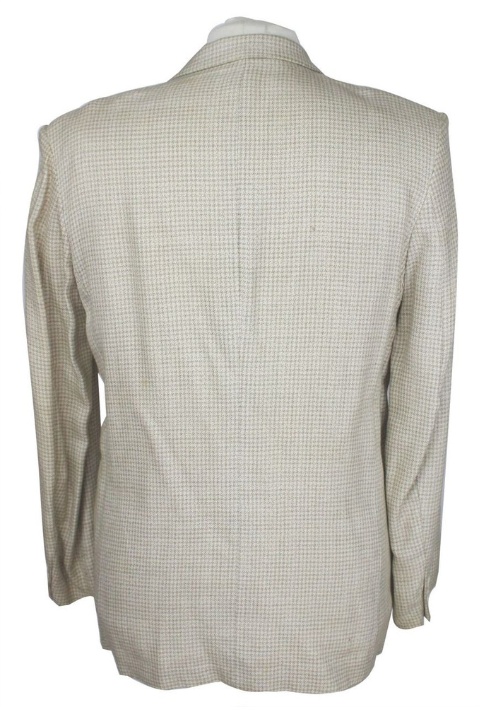 Egon Von Furstenberg beige & white check double breasted jacket