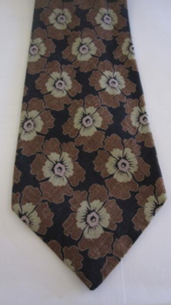 Giorgio Armani black and brown linen flower tie
