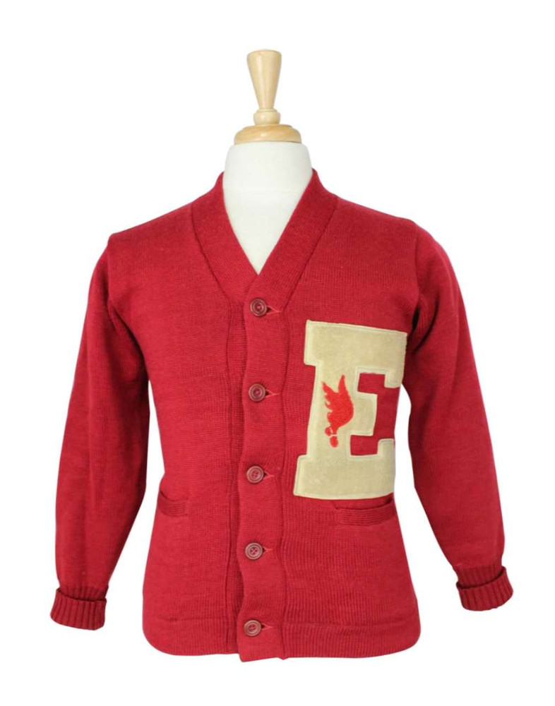 Vintage O'Shea 1940s Red Collegiate Cardigan