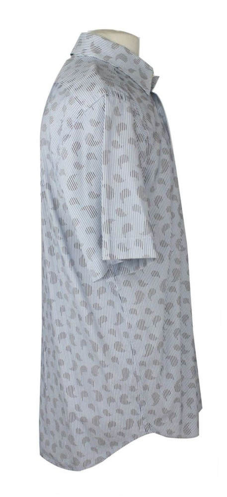 Etro Striped White & Blue Paisley Short Sleeve Shirt