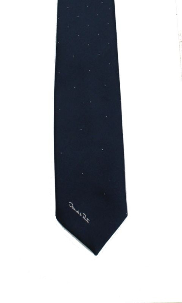 Vintage Oscar De La Renta Navy Blue White Dots Tie
