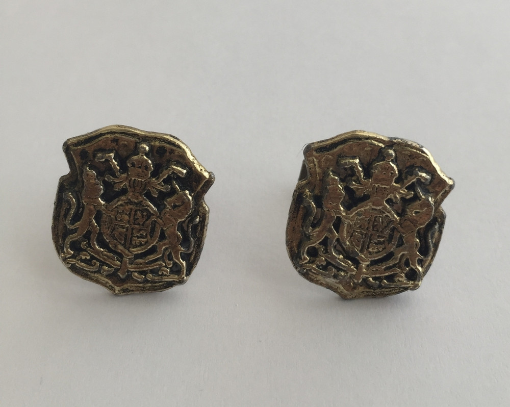 Vintage Gold Tone Oversized Mythological Crest Cufflinks
