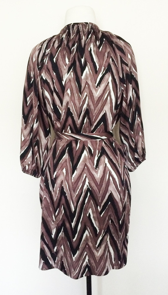 Tucker NYC Brown, Black, White Herringbone Silk Smocked Dress