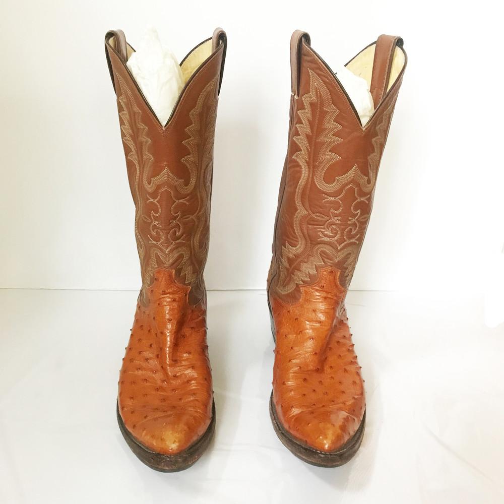 Justin Brown Ostrich Cowboy Boots