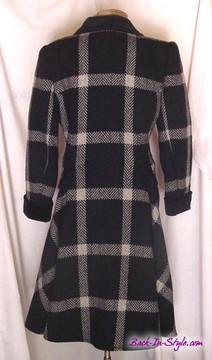 Valentino Black and Beige Window Pane Wool Swing Coat