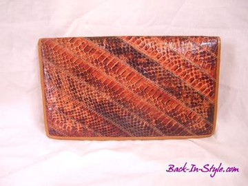 Caprice Brown Striped Snake Skin Clutch