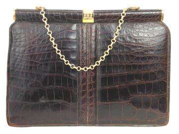 Vintage Brown Crocodile Handbag  1