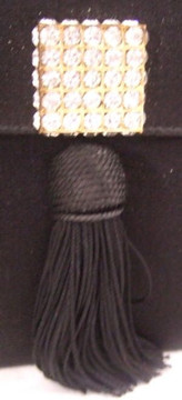 Fred Hayman Black Rhinestone and Tassel Detail Evening Bag