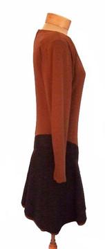 Galanos Asymmetrical Brown & Black Color Blocked Silk Dress