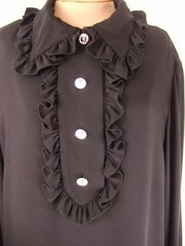 Vintage Bill Blass 1970s Black Silk Tuxedo Ruffle Dress