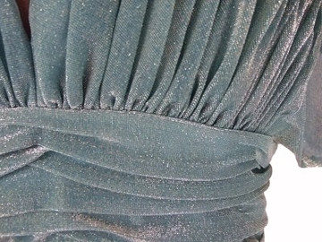 Vintage Estevez 1970s Sage Green & Gold Glitter Evening Dress