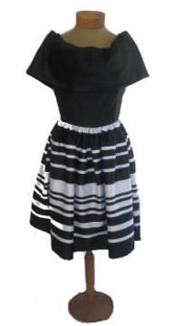 Vintage Albert Nipon 1980s Black and White Striped Cocktail Dress