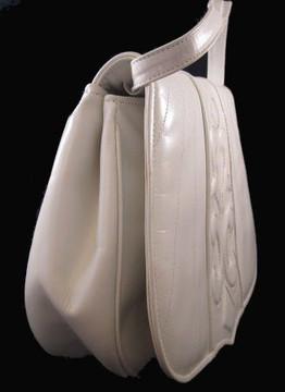 Barbara Bolan White Leather Handbag with Interesting Design