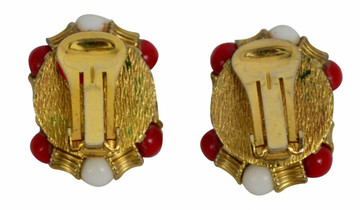 Vintage Red, White & Gold Ear Clips