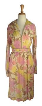 Emilio Pucci Vintage Pink Floral Chiffon Cocktail Dress 1
