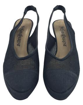 Vintage Yves Saint Laurent Black Mesh Sling Back Platform Heels