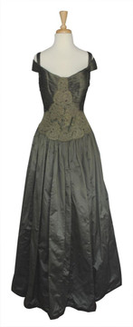 Chris Kole Olive Taffeta with Lace Applique Ballgown